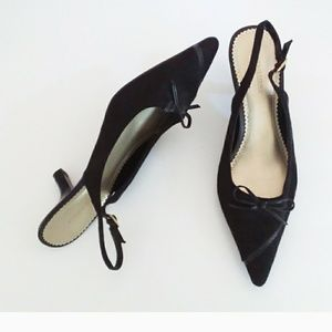 Predictions Black Suede and Leather Accent Heels